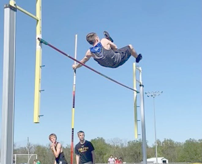 """Boonville's Conner Baysinger vaults over the bar while competing in the pole vault Friday during the Don Dobson Invitational in Fulton. Baysinger finished sixth with a personal record at 8'-0""""."""