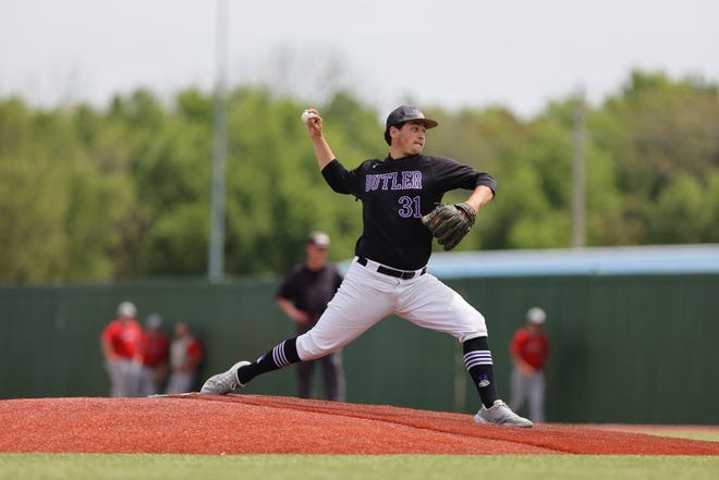 Butler's Nate Adler opened the Saturday double-header against Labette at McDonald Stadium in El Dorado, Kansas