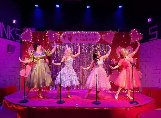 """Natasha Ricketts of Adrian, left, performs as Betty Jean in the musical """"The Marvelous Wonderettes"""" at the Myers Dinner Theatre in Hillsboro, Ind. Also pictured, from second left, are Jennifer Barnaba of Ohio as Suzy, Lauren Morgan of New York state as Cindy Lou and Jocelyn Lonquist of Florida as Missy."""