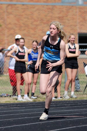 New Rockford-Sheyenne freshman Kelsie Belquist has set a handful of personal records and broken meet records this season. This is her third year competing at the varsity level.