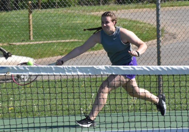 Burlington High School's Jessica Kendell chases the ball in the first round of No. 1 doubles in Saturday's Grayhound Invitational girls tennis tournament at Dankwardt Park. Camanche's Maci Sloane and Maddie Michels defeated Kendell and Kayla Norton, 8-6.