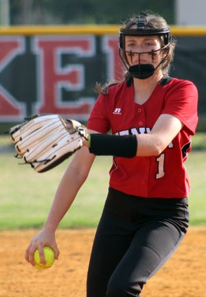 Bishop Kenny's Kaitlyn Gilmore delivers a pitch during the district softball final against Yulee.