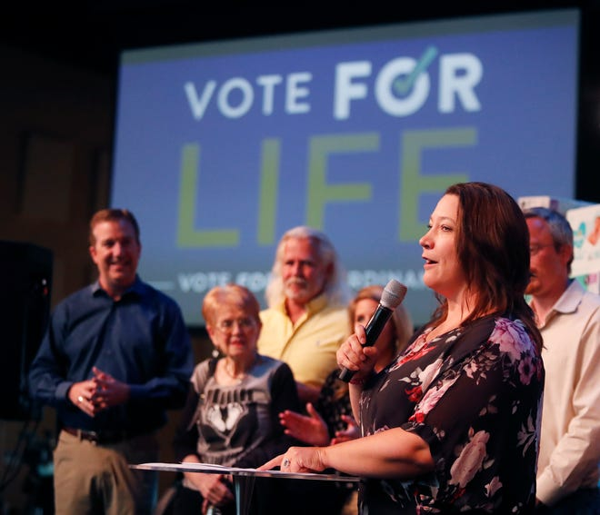 Teresa Clark addresses the crowd after celebrating early returns at an anti-abortion election watch party at Trinity Church in Lubbock, TX, Saturday May 1,2021.