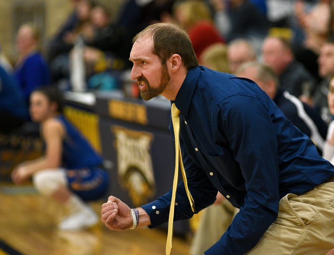 Erie Mason's Josh Sweigert, shown during the 2020 season, has been named the Monroe County Region Girls Basketball Coach of the Year.