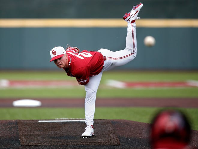 OU starting pitcher Braden Carmichael, shown May 2 against Oklahoma State, is coming off a start where he allowed no hits in seven innings and struck out a career-high 10 in a win at West Virginia. The Sooners host Texas Tech beginning Friday.