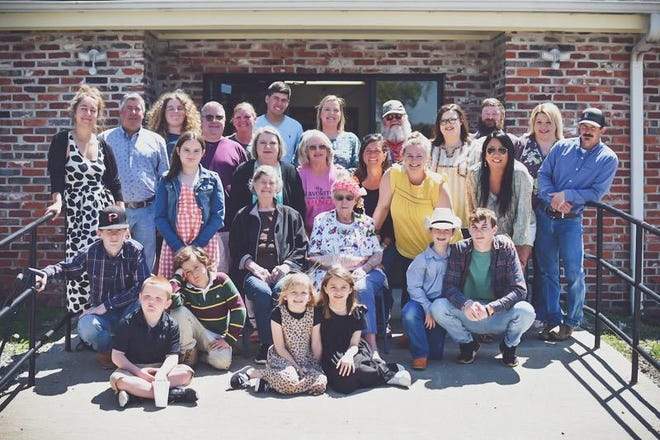 Family members of Pauline Patterson recently celebrated her 100th birthday. Pictured are -- Front Row: L-R, Huck Reese, Sloan Swanson, Sawyer Swanson. 2nd Row: L-R, Wyatt Cosby, Shane Smith, Laynee Reese, Rose Yount, Pauline Patterson, Gus Cosby, Lane Cosby. 3rd Row: L-R, Hannah Pottage, EJ Smith, Mark Smith, Kelly Chouteau, Pauline Yount, Angela Smith, Kristy Cosby, Victoria Gawhega,, Bryan Cosby. Back Row: L-R, Jonah Smith, Terry Mouser, Parker Smith, Casey Reese, Eddie Yount, Kassidee Chouteau, Kyle Yount, and Erin Yount.