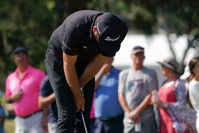 Keegan Bradley slumps after hitting his tee shot on the 13th hole into the water during the final round of the Valspar Championship Sunday in Palm Harbor. Jasen Vinlove-USA TODAY Sports