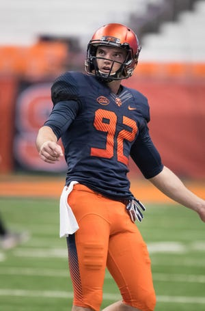Nov 9, 2018; Syracuse, NY, USA; Syracuse Orange punter Nolan Joseph Cooney (92) warms up prior to a game against the Louisville Cardinals at the Carrier Dome. Mandatory Credit: Mark Konezny-USA TODAY Sports