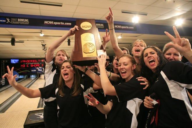 The 2007 Vanderbilt University women's bowling team celebrates their NCAA championship.