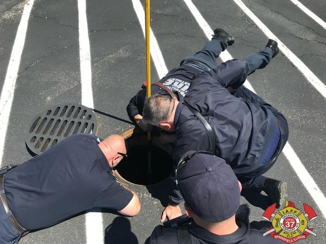 Springfield firefighters rescued eight ducklings Saturday trapped in a storm drain located in a hotel parking lot at Prairie Crossing.