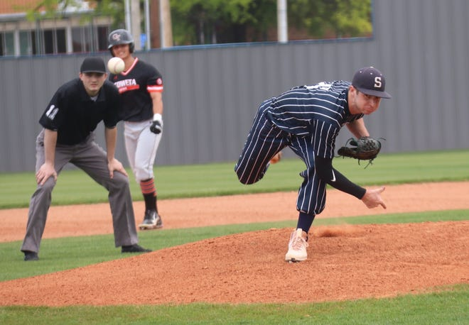 Shawnee pitcher Bauer Brittain makes the delivery against Coweta Saturday at Memorial Park's Ed Skelton Field.