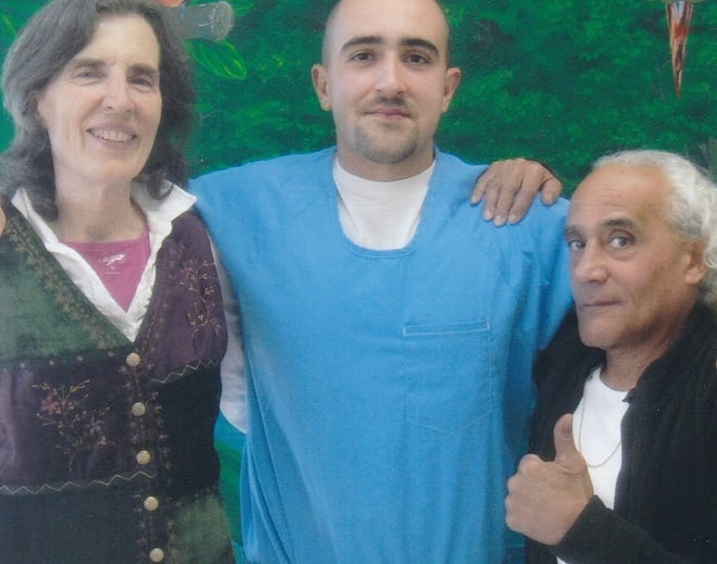 Sundance Angel Gonzalez and his parents, Renee Getreu and Leonardo Gonzalez, during a visit to prison in 2019.