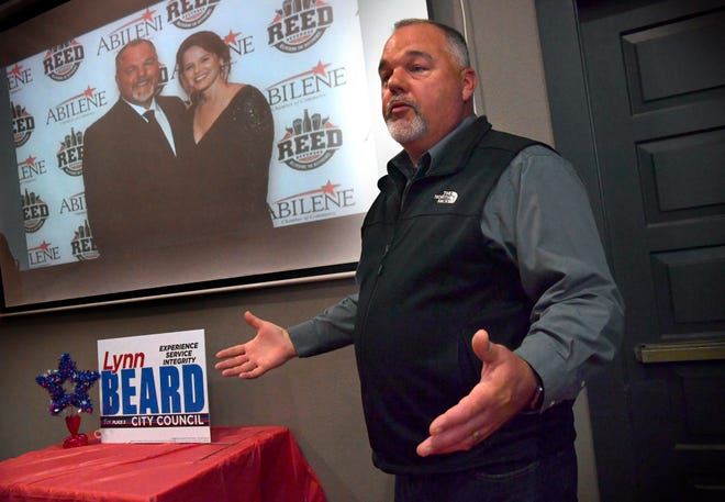 Lynn Beard thanks his supporters after being elected to the Abilene City Council Place 2 during a watch party at Cypress Street Station on Saturday.