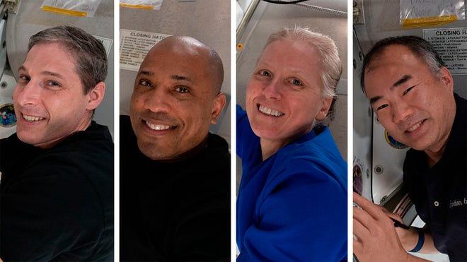 Kombinasi foto yang disediakan oleh NASA ini menunjukkan dari kiri, Expedition 64 Flight Engineers dan anggota SpaceX Crew-1 Michael Hopkins, Victor Glover, Shannon Walker dan Soichi Noguchi.