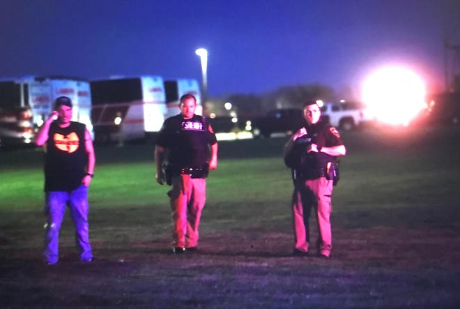 Law enforcement officials respond to a reported shooting Saturday at the Oneida Casino in Ashwaubenon, Wisconsin.