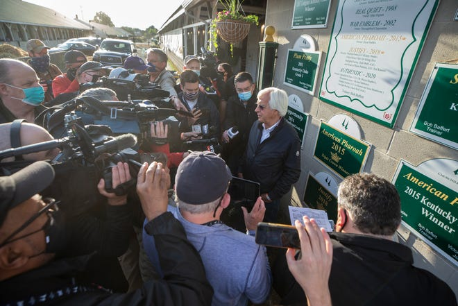 Bob Baffert spoke with the media in front of his barn on the backside of Churchill Downs the day after his seventh victory in the Kentucky Derby with Medina Spirit. May 2, 2021