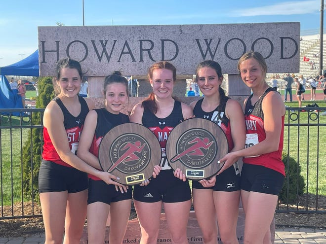 The five members of the two relay teams that set school records at the Dakota Relays on Saturday, May 1 include (left-to-right) Maya Heinitz, Madala Hanson, Josie Baumberger, Ella Heinitz and Courtney Brown.
