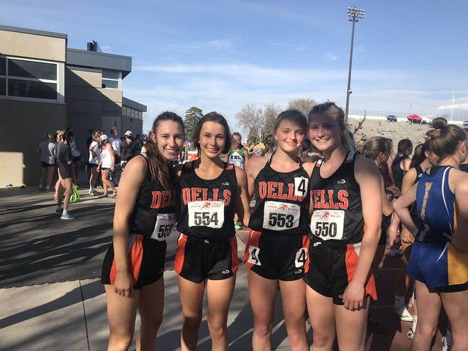 The 4x400 relay team of Sam Price, Merrit Kvigne, Danica Heibult and Kylee Fiddelke finished fifth at the Dakota Relays in Sioux Falls on Saturday, May 1.
