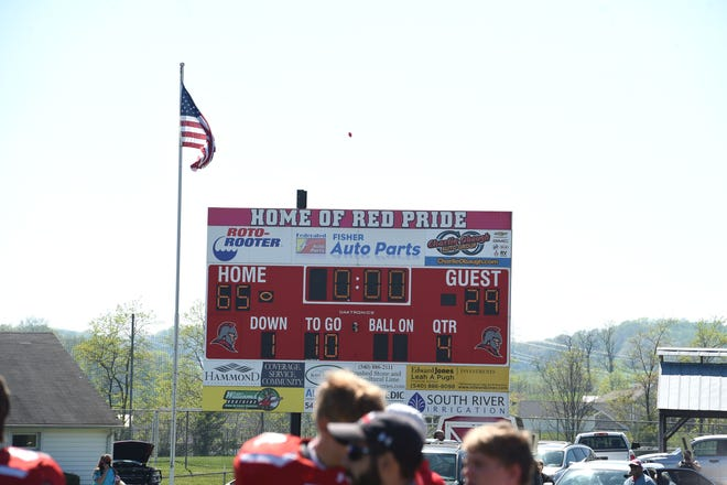 The scoreboard at Riverheads shows the final score of Saturday's Class 1 state football championship between Riverheads and Galax. The win was Riverheads' fifth consecutive state championship.