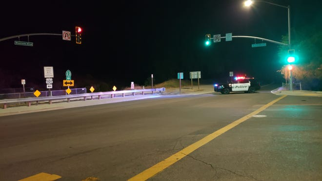 This was the scene of the intersection of Potrero Road and South Westlake Boulevard near the site of a fatal crash on Saturday night.