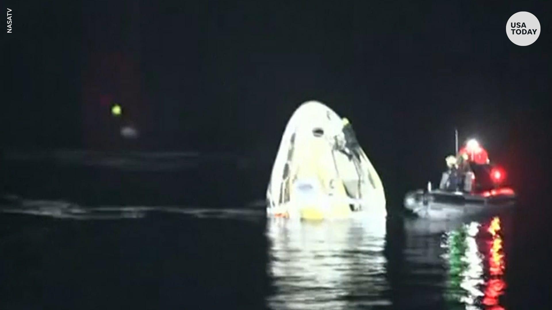 NASA astronauts return to Earth in first nighttime screening since Apollo 8