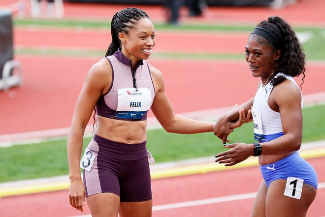Allyson Felix and Christania Williams compete at the USATF Grand Prix at Hayward Field on April 24, 2021 in Eugene, Oregon.
