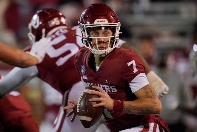 Oklahoma quarterback Spencer Rattler (7) during an NCAA college football game against Oklahoma State in Norman, Okla., Saturday, Nov. 21, 2020.