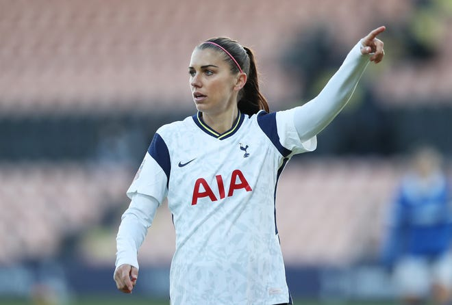 Alex Morgan played for Tottenham during the Barclays FA Women's Super League match on December 6, 2020 in Barnet, England.