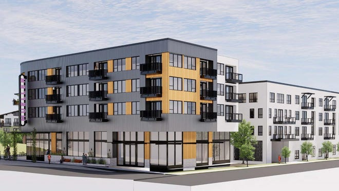 An artist's rendering shows a what developers envision for a 350-unit apartment project planned for Austin's Mueller development.