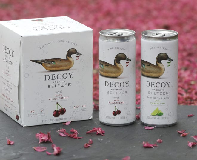 Decoy Premium Seltzers include rose with black cherry and sauvignon blanc with lime.