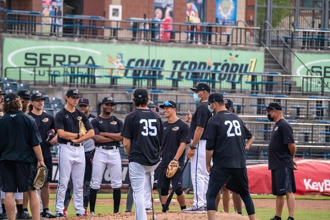 RubberDucks manager Rouglas Odor, on the mound, talks to his team during a workout Sunday at Canal Park. The RubberDucks are scheduled to open their season at 7:05 p.m. Tuesday against the Binghamton Rumble Ponies at Canal Park. [Photo courtesy of the Akron RubberDucks]