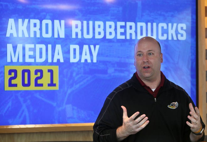 Akron RubberDucks General Manager Jim Pfander about the new food items and the pandemic changes for the upcoming season during a preview event Monday at the Duck Club at Canal Park in Akron.
