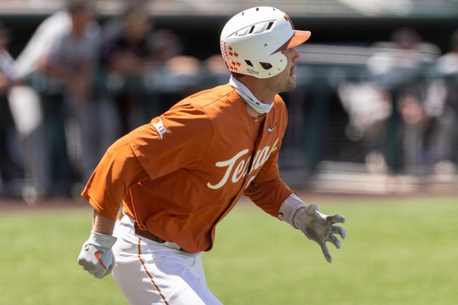 Zach Zubia watches his pop fly out against Texas Tech during last weekend's series at UFCU Disch-Falk Field. Zubia hit two home runs in the series finale with TCU in Fort Worth on Sunday. The Longhorns still trail TCU in the Big 12 standings since the Horned Frogs won Saturday.