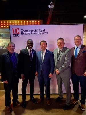 Anna mayor Nate Pike (center) says he expects a busy three years for the city on the economic front.  Last week, he and a contingent of city leaders spoke about Anna's rapid development during the D CEO Commercial Real Estate Awards.  From left: Mayor Pro-tem Lee Miller, EDC/CDC Board President Anthony Richardson, Pike, City Manager Jim Proce, Economic Development Director Joey Grisham.