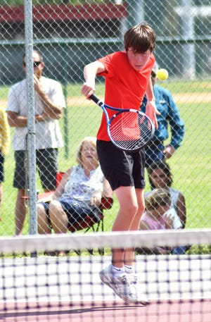 Gamecock No. 3 singles player Mason Forehand returns a shot against visiting Telfair County in the final set of the semifinal matchup on the home courts on April 29. Forehand got the 7-5, 6-4 win to push the Gamecocks into the Class A state title match Saturday.