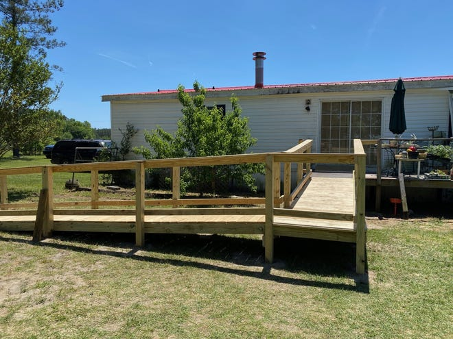 A wheelchair ramp has been completed for Colten Cain at the Crosby residence in Varnville.