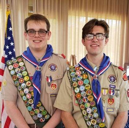 Luke Gallery, left, and Matt Fries received their Eagle Scout Awards during a recent ceremony at Hillcrest Country Club. As a junior at Bartlesville High School, Fries is vice president of the Future Farmers of America and is also involved in BHS Green, National Honor Society, Youth Group at St. John Before the Latin Gate Catholic Churchand Run the Streets.Gallery is a junior at Bartlesville High School and is involved in science fair and Run The Streets.