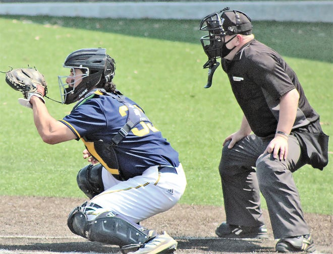 Seth Delgado, left, has been an overall threat this season for the Oklahoma Wesleyan University baseball team.