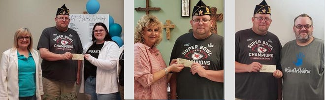Bangs American Legion Lynn Snow Post 308 recently presented $3,000 in donations to area entities. Those given $500 were Good Samaritan Ministries, The Ark Domestic Violence and Sexual Assault Shelter and CASA in the Heart of Texas. $250 donations went to Bangs Volunteer Fire Department, Bangs Cemetery Association, Bangs Food Pantry, Bangs Lions Club, Santa Anna Volunteer Fire Department and the Brown County Child Welfare Board. Pictured is adjutant Rick Phelps with Leesa Stephens, director of Good Samaritan Ministries; Travis Curry, board member with the Brown County Child Welfare Board and Sharon Cook, Abby Fraser and Brenda Butler with the Ark.