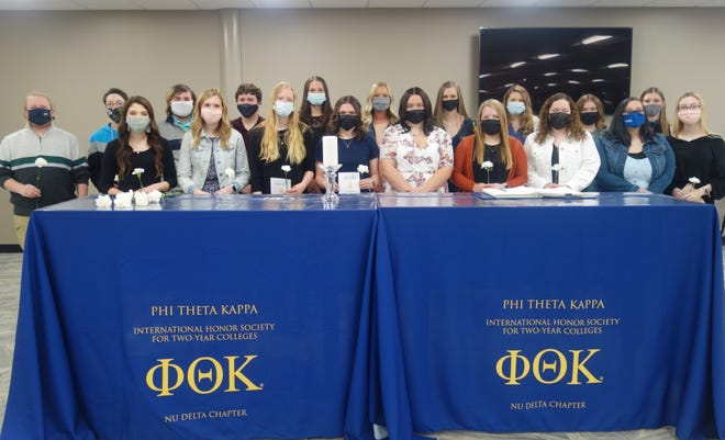 A total of 83 students were inducted into the Spoon River College Nu Delta Chapter of Phi Theta Kappa International Honor Society this spring, including these students who attended one of the two socially distanced ceremonies held at the Canton Campus on April 22.