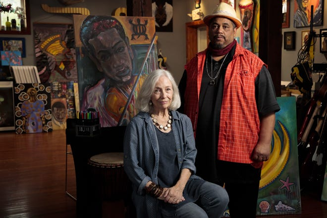 Jackie Calderone, director of Transit Arts, and Richard Duarte Brown, a mixed-media artist, have learned to recognize students' trauma-informed behavior and how to respond accordingly.