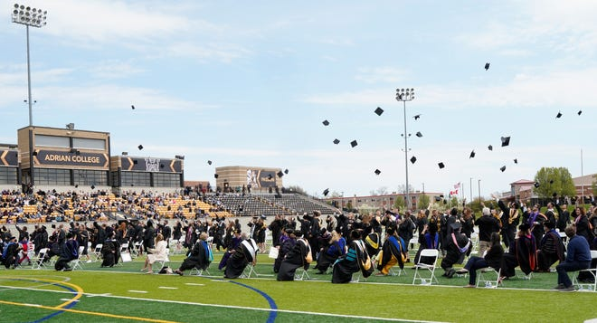 The Adrian College Class of 2020 officially marked its commencement Saturday with celebrations on the Adrian College football field and Docking Stadium. Graduates, one year in the making, were finally able to toss their caps into the air.