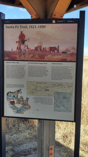 The Santa Fe Trail kiosk is located west of Howell on Highway 50 at the Santa Fe Trail tracks.