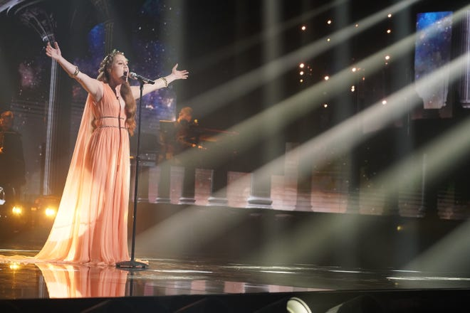 """Cassandra Coleman of Columbia performs """"Go The Distance"""" as part of Disney Night featuring """"American Idol's"""" Top 10 contestants."""