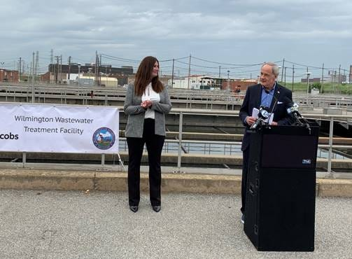 Sen. Tom Carper and Wilmington Public Works Commissioner Kelly Williams were on hand at the Wilmington Wastewater Treatment Plant to announce the Senate Passage of the Drinking Water and Wastewater Infrastructure Act on May 3.