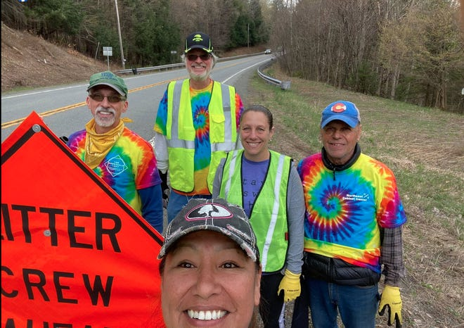 Kate Johnson's group cleaned up part of Route 191 north of the Wayne County Fairgrounds on Sunday afternoon, April 25. They collected 82 bags of trash along two miles.