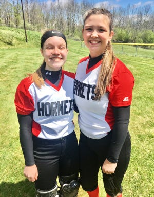 Honesdale's All-Star battery of pitcher Marissa Gregory (right) and catcher Rachel Daub (left) have been playing together since they were seven. On Saturday, this dynamic duo led the Lady Hornets to a 19-0 thrashing of Mountain View.