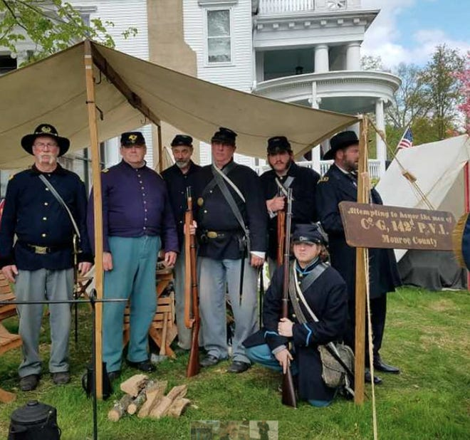 142nd Pennsylvania Volunteer Infantry Company G, encamped at The Columns Museum in Milford.