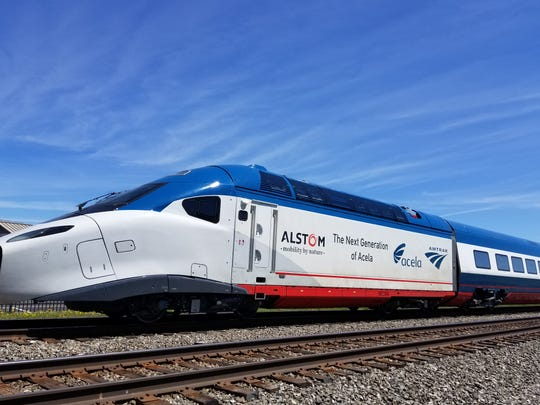 The Acela prototype, the first of afleet of new high speed rail cars for Amtrak, returned to the Alstom shop Saturday afterundergoing high speed performance testing at the Transportation Technology Center inPueblo, Colo.