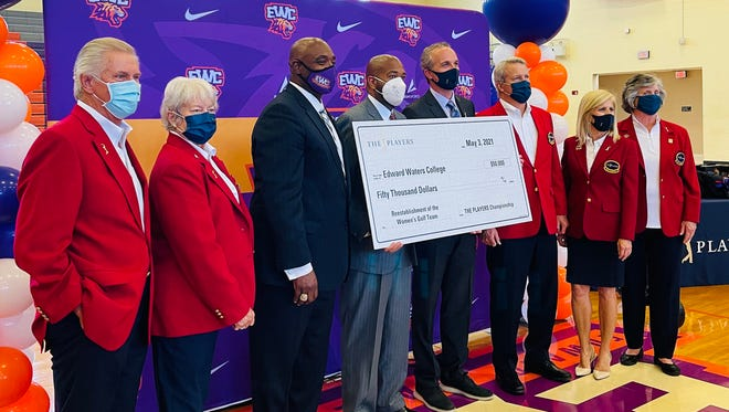 The Players Championship presented Edward Waters College at $50,000 donation to help relaunch a women's golf program. From the left are Mike Hartley, past Players chairman, Anne Nimnicht, past chairman, EWC athletic director Paul Bryant, EWC president and CEO A. Zachary Faison Jr., Players executive director Jared Rice, 2022 tournament chairman Matt Welch and past chairmen Michelle McManamon and Theresa Greene-Hazel.